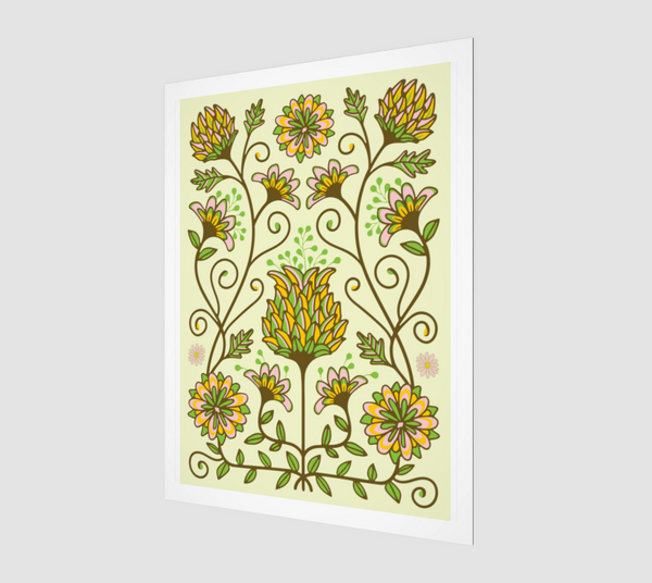 Folk Floral-3 - Fine Art Print - in Yellow/Green/Brown