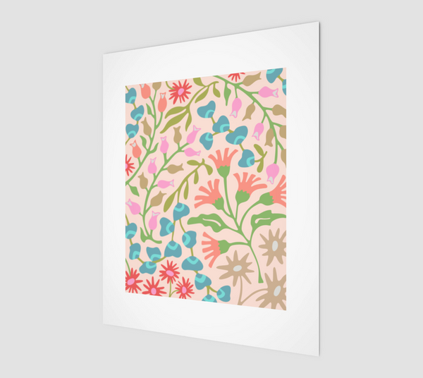 "Flat Lay Floral-2 - Fine Art Print - 8""x10"" in Pastels"