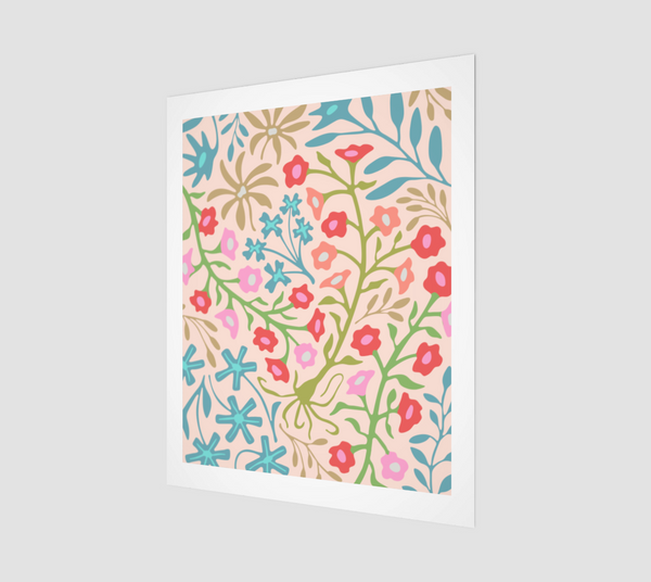 "Flat Lay Floral-1 - Fine Art Print - 16""x20"" in Pastels"