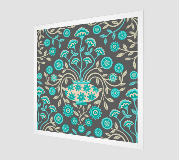 Dreamy Damask - Fine Art Print - in Turquoise/Gray