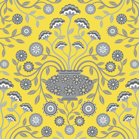Dreamy Damask - Fine Art Print - in Yellow/Gray