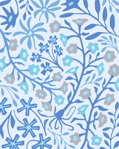 "Flat Lay Floral-1 - Fine Art Print - 8""x10"" in Blue"