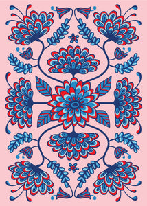 Folk Floral-1 - Fine Art Print - in Red/Pink/Blue