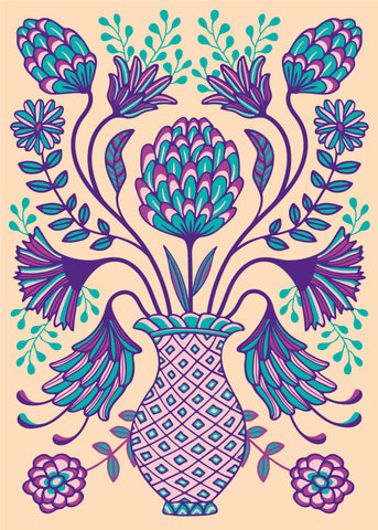 Folk Floral-2 - Fine Art Print - in Purple/Teal