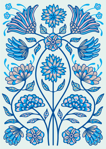 Folk Floral-4 - Fine Art Print - in Blue