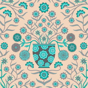 Jardiniere - Fine Art Print - in Turquoise/Gray