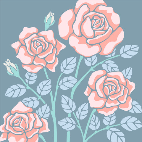 Rose-Coloured - Fine Art Print - in Blue/Coral