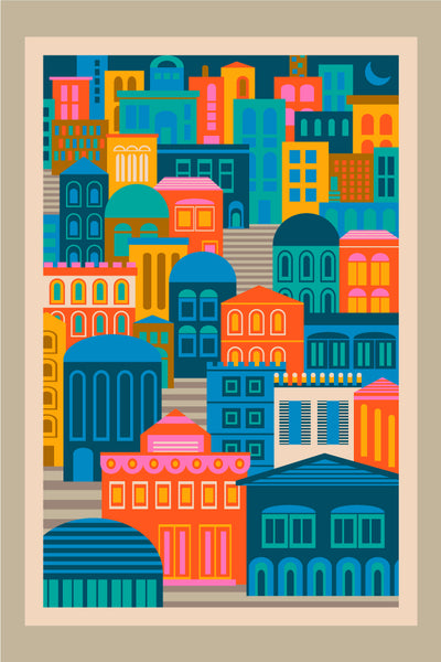 Vintage Travel City Lights - Fine Art Print