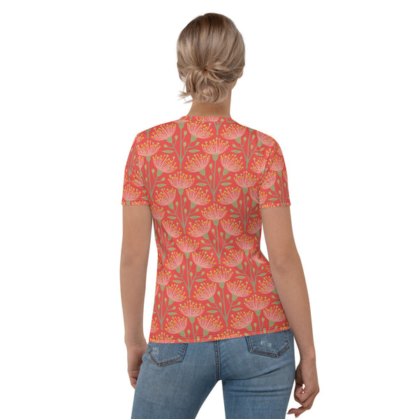 Eucalyptus Print - Women's All-Over Print T-Shirt - in Coral