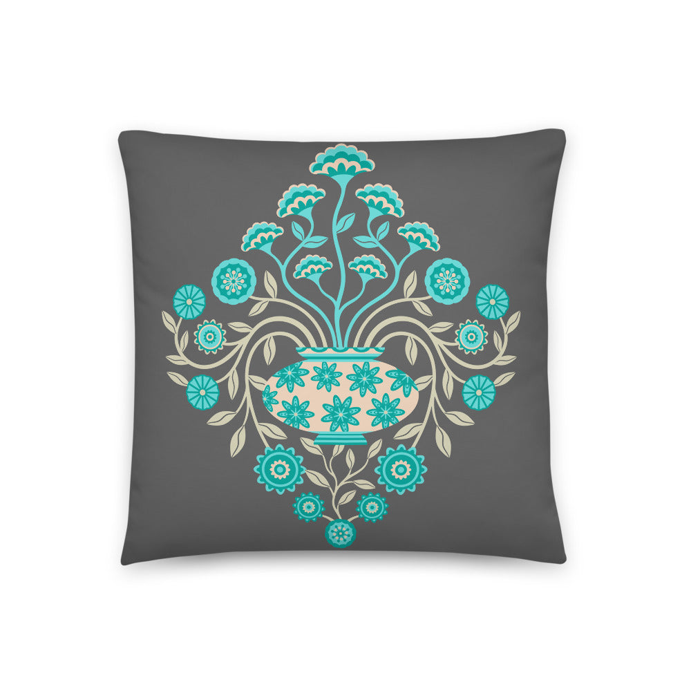 Dreamy Damask - Throw Pillow - in Turquoise and Gray