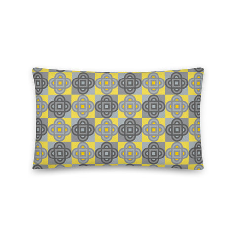 Quatrefoil - Long Throw Pillow - in Yellow and Gray