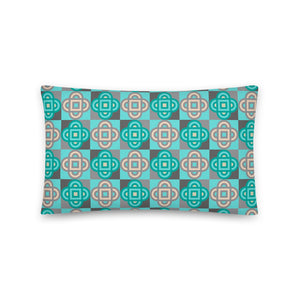 Quatrefoil - Long Throw Pillow - in Turquoise and Gray