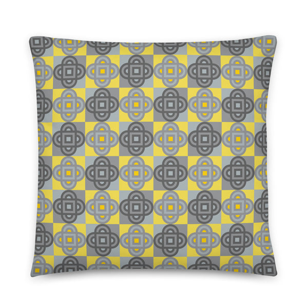 Quatrefoil - Throw Pillow - in Yellow and Gray