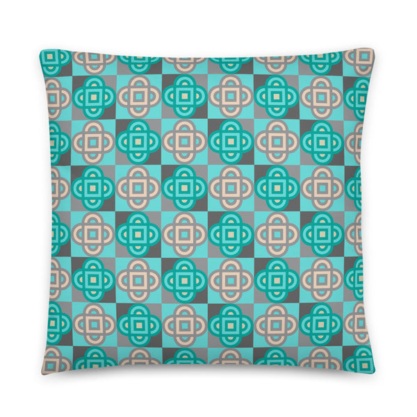 Quatrefoil - Throw Pillow - in Turquoise and Gray