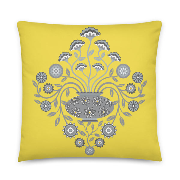 Dreamy Damask - Throw Pillow - in Yellow and Gray