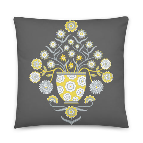 Jardiniere - Throw Pillow - in Yellow and Gray