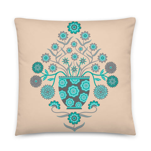 Jardiniere - Throw Pillow - in Turquoise and Gray