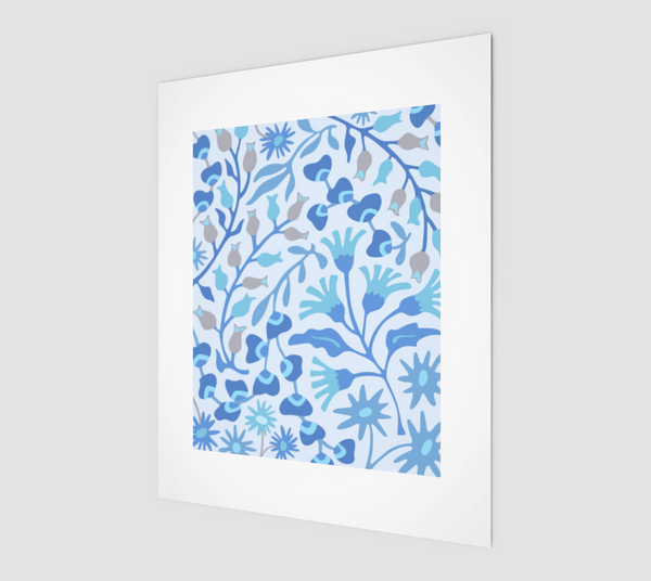 "Flat Lay Floral-2 - Fine Art Print - 8""x10"" in Blue"