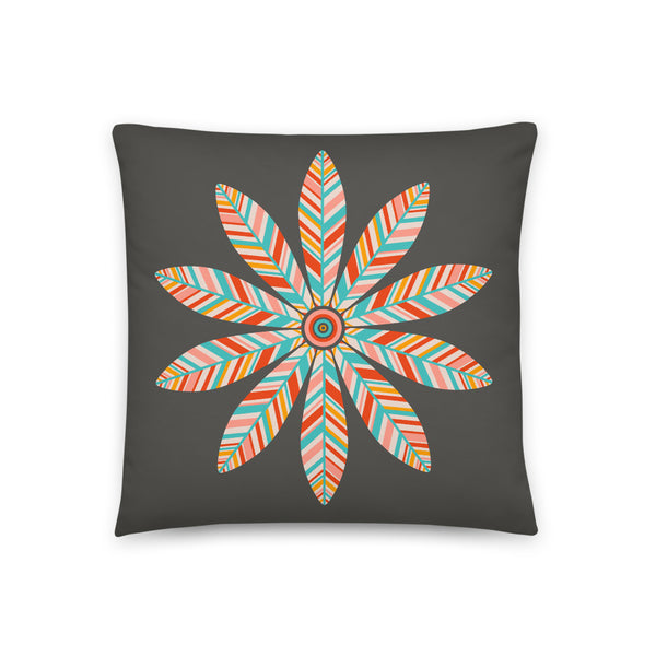 Petal Mandala - Throw Pillow - in Dark