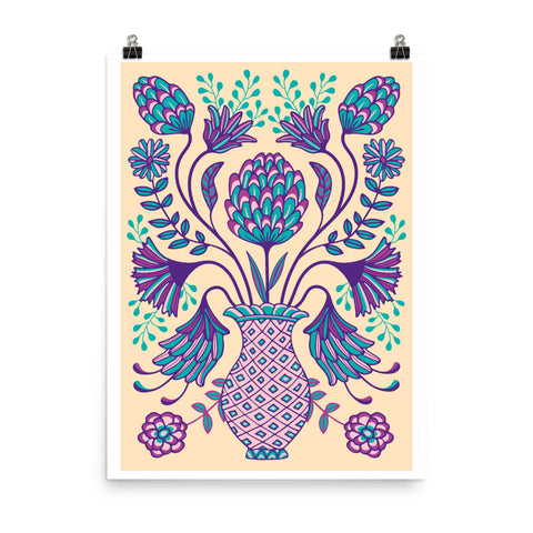 Folk Floral-2 - Art Print - in Purple/Teal