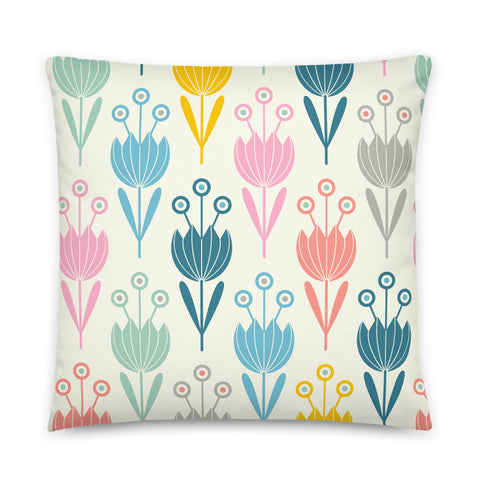 2-Prints-In-1 Pillow! Spring Tulips (Front) and Tinkle (Back) Print - Throw Pillow