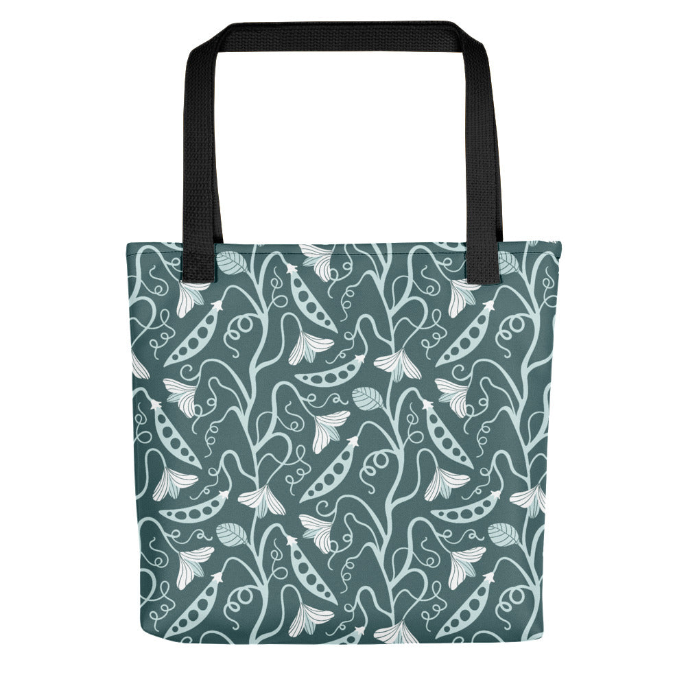 Sweet Pea Print - Tote Bag - in Pine/Mint