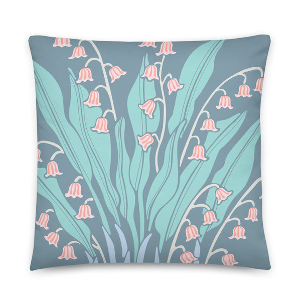 Happiness - Throw Pillow - in Blue/Coral