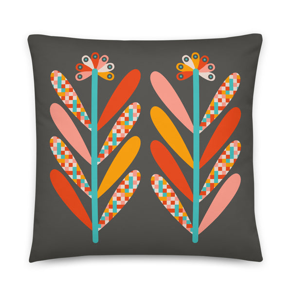 Blooms - Throw Pillow - in Dark