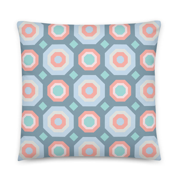 Halcyon Geos Print - Throw Pillow - in Blue/Coral