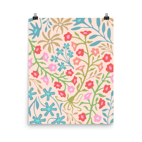 Flat Lay Floral-1 - Art Print - in Pastels