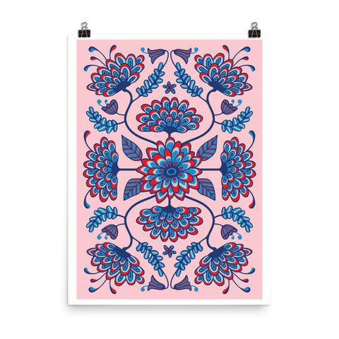 Folk Floral-1 - Art Print - in Red/Pink/Blue