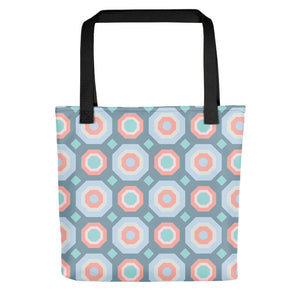 Halcyon Geos Print - Tote Bag - in Blue/Coral