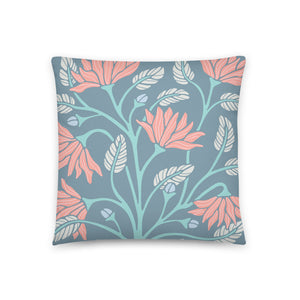 Serenity - Throw Pillow - in Blue/Coral