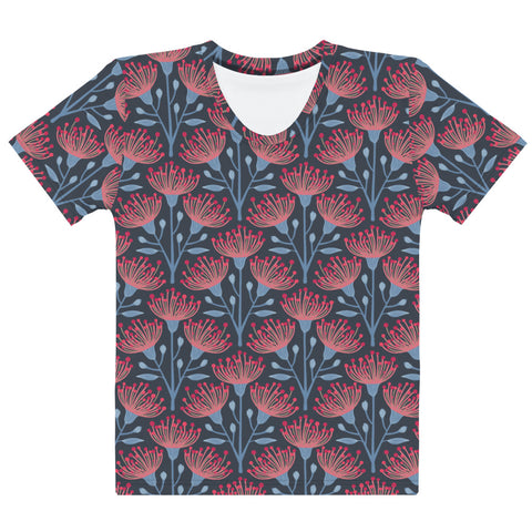 Eucalyptus Print - Women's All-Over Print T-Shirt - in Navy