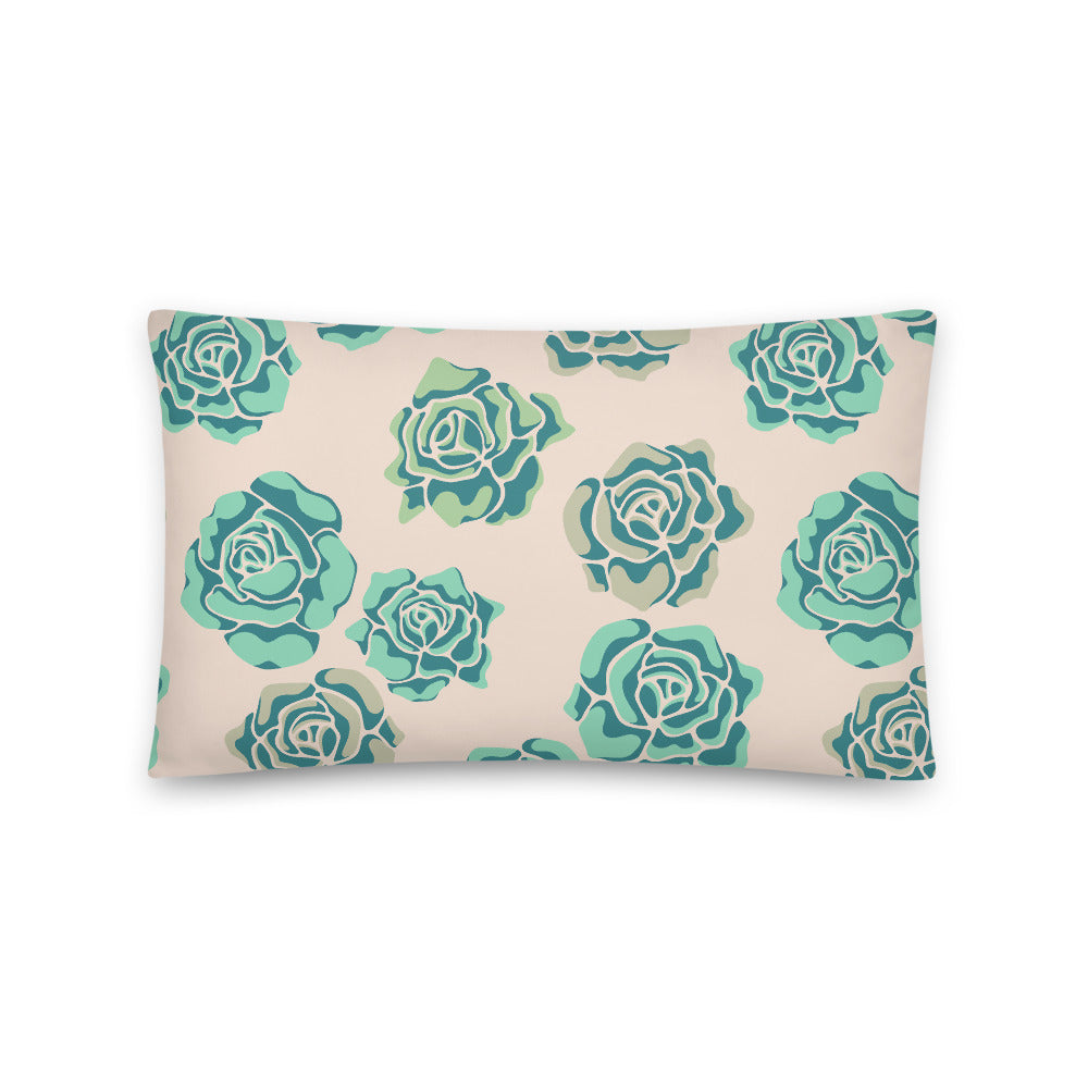 Rose-Coloured Print - Throw Pillow - in Teal