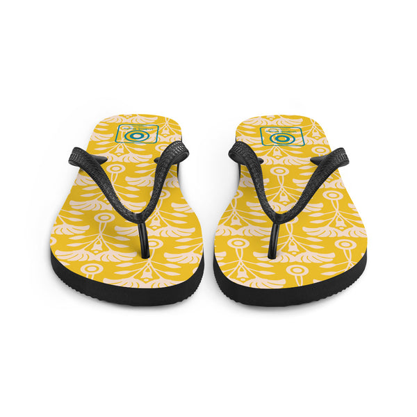 Art Nouveau Print - Flip Flops - in Yellow