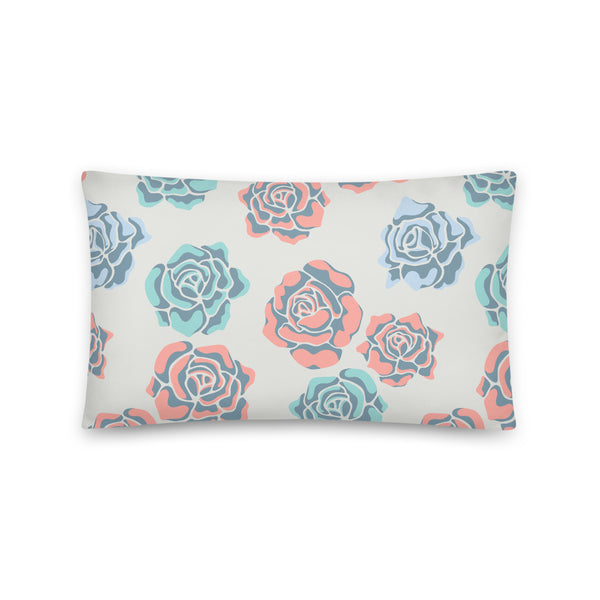 Rose-Coloured Print - Throw Pillow - in Blue/Coral