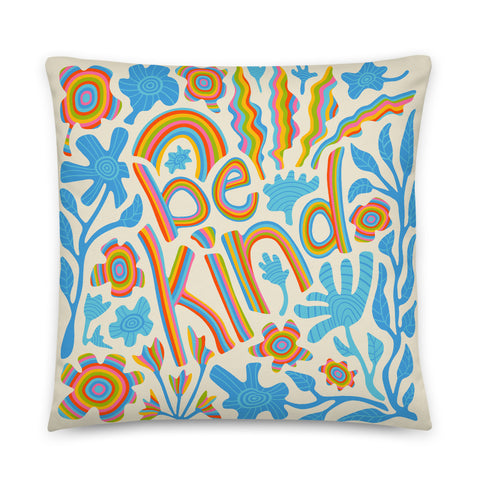2-Prints-In-1 Pillow! Be Kind (Front) and Floral Print (Back) - Throw Pillow