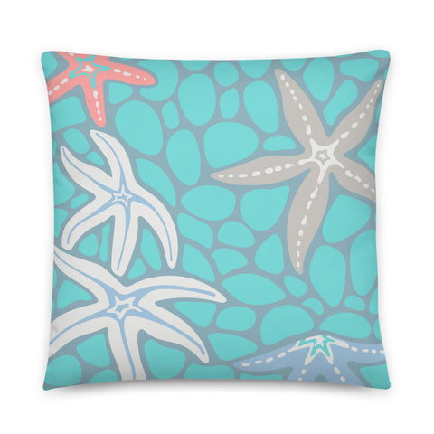 2-Prints-In-1 Pillow! Sea Stars (Front) and Kelp Forest (Back) - Throw Pillow