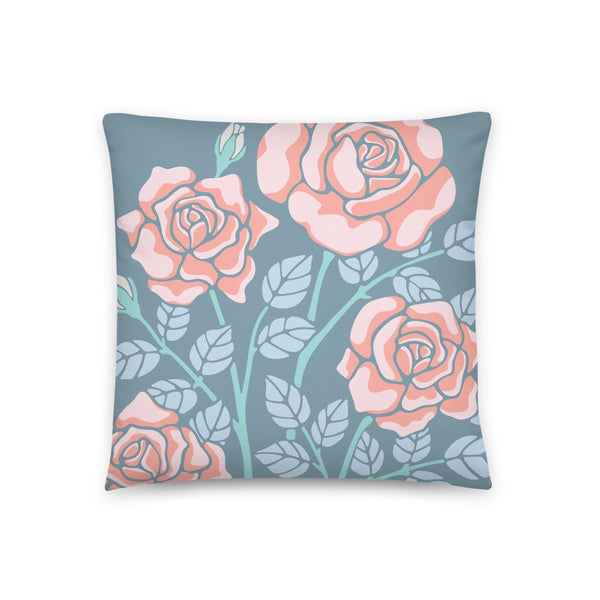 Rose-Coloured - Throw Pillow - in Blue/Coral