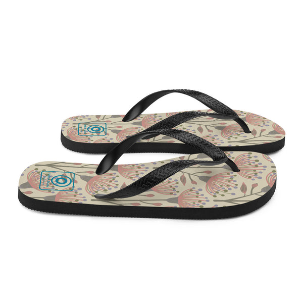 Eucalyptus Print - Flip-Flops - in Natural