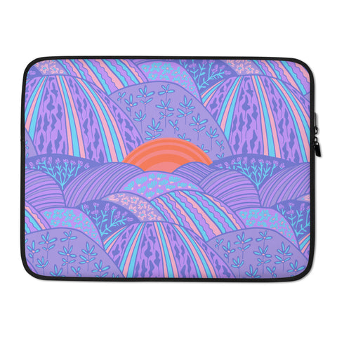 Sunset in the Lavender Fields Print - Laptop Sleeve