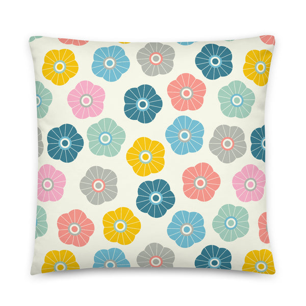 2-Prints-In-1 Pillow! Spring Daisies (Front) and Showers (Back) Print - Throw Pillow