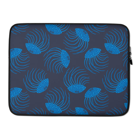 Jellyfish Print - Laptop Sleeve - in Blue