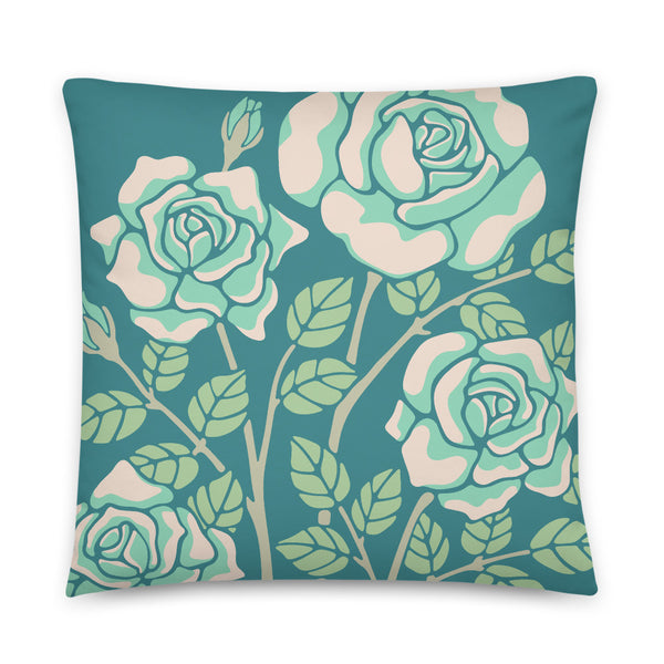 Rose-Coloured - Throw Pillow - in Teal