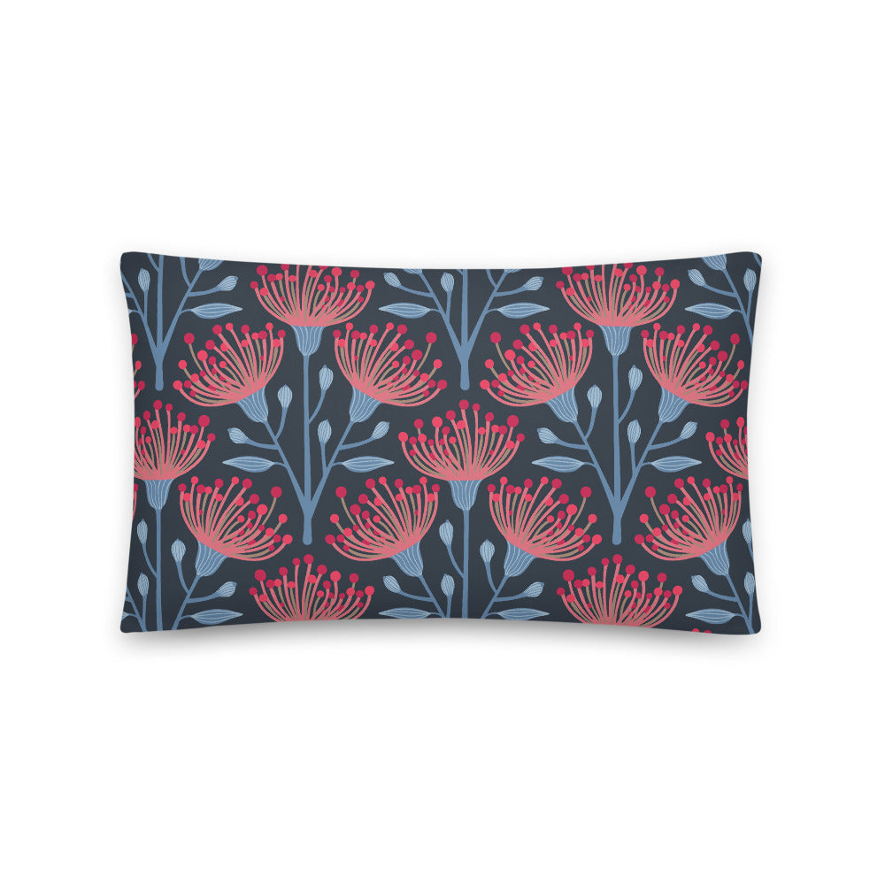Eucalyptus Print - Throw Pillow - in Navy