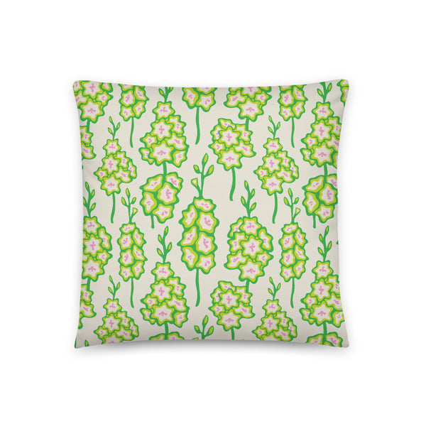 Gladiolus Print - Throw Pillow - in Fresh Green