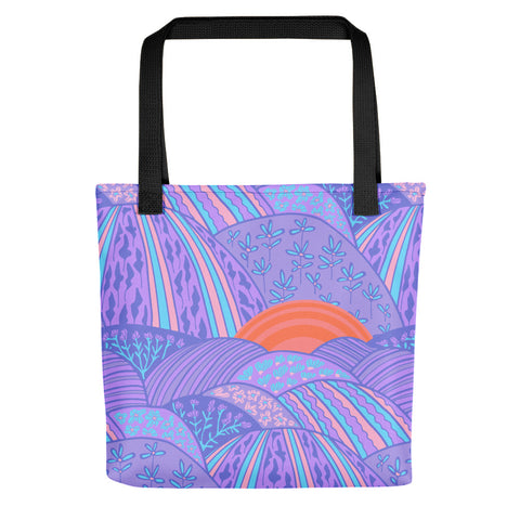 Sunset in the Lavender Fields Print - Tote bag
