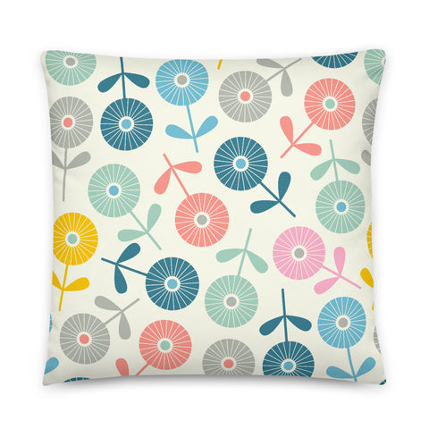 2-Prints-In-1 Pillow! Spring Ditsy (Front) and Spring Dotsy (Back) Print - Throw Pillow