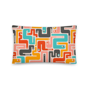 Retro Rattlers Print - Throw Pillow